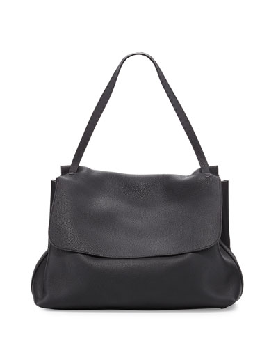 Leather Flap-Top Shoulder Bag, Black