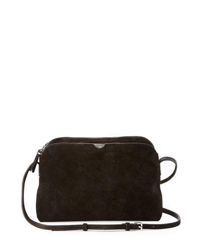Multi-Pouch Suede Crossbody Bag, Black