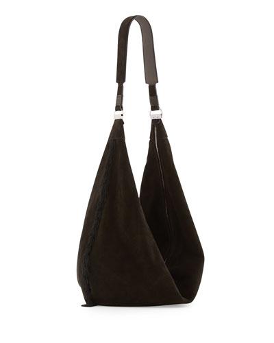 Sling 15 Tassel Suede Hobo Bag, Black