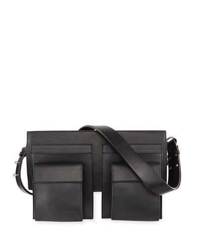 Utility-Style Leather Shoulder Bag, Black