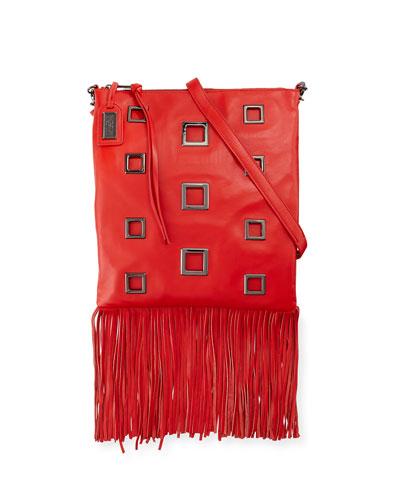 Lisa Leather Crossbody Bag W/Fringe, Red