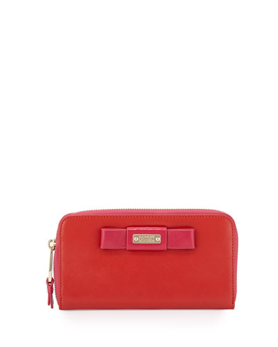 Wendi Colorblock Leather Continental Wallet, Geranium/Fuchsia