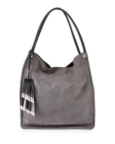 Medium Nubuck Leather Tote Bag, Heather Gray