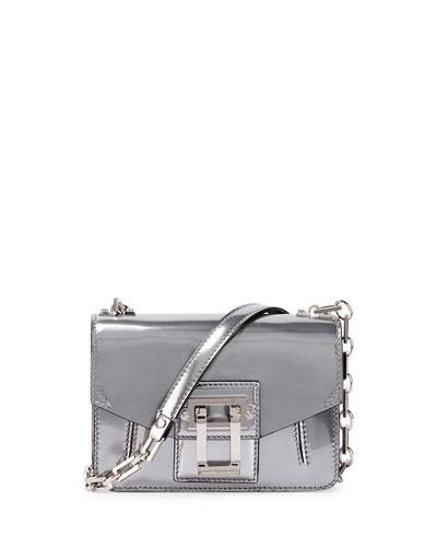 Hava Sparkling Metallic Leather Crossbody Bag, Silver