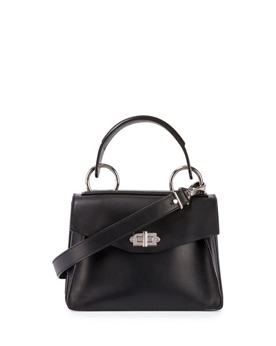 Hava Small Leather Top-Handle Satchel Bag, Black