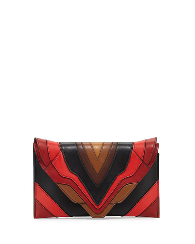 Selina Sensua Leather Small Clutch Bag, Burning Lines