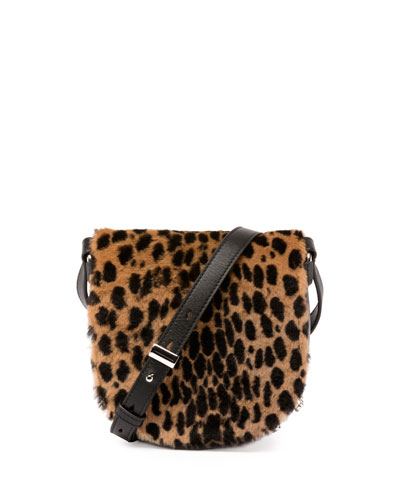 Mini Lia Printed Kangaroo Fur Crossbody Bag, Cheetah