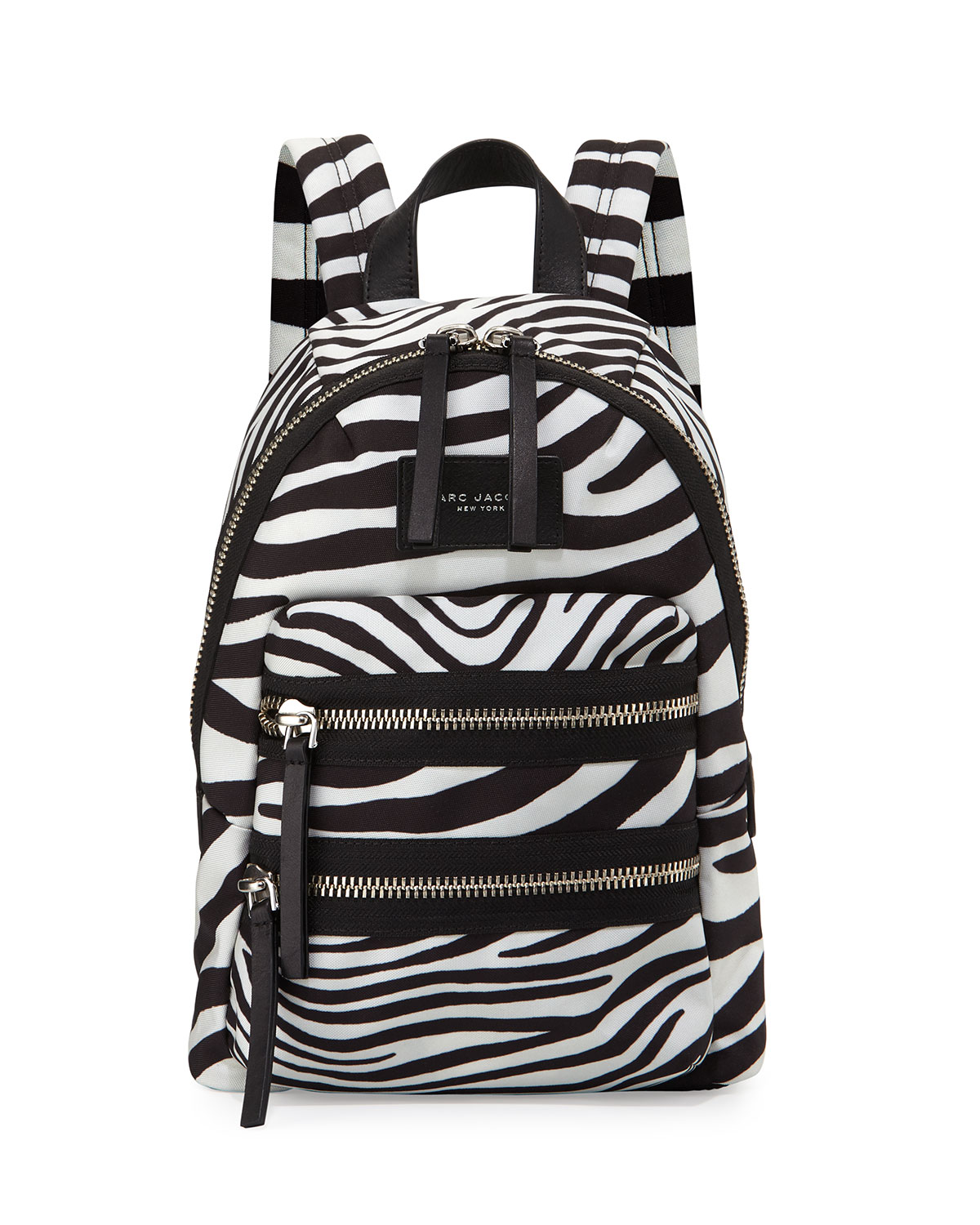 Zebra-Print Biker Backpack, Off White/Black