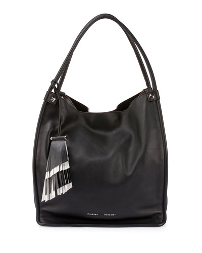 Medium Soft Leather Tote Bag, Black