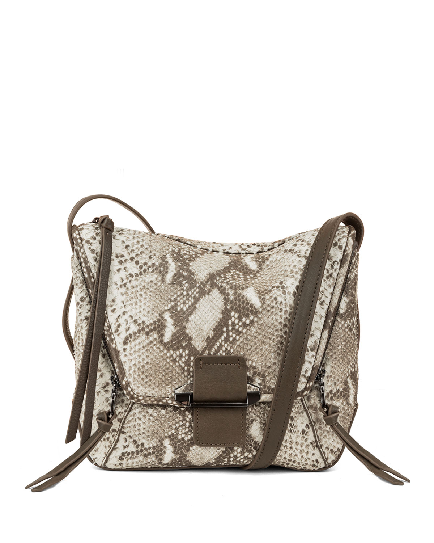 Gwenyth Snake-Print Leather Crossbody Bag, Natural
