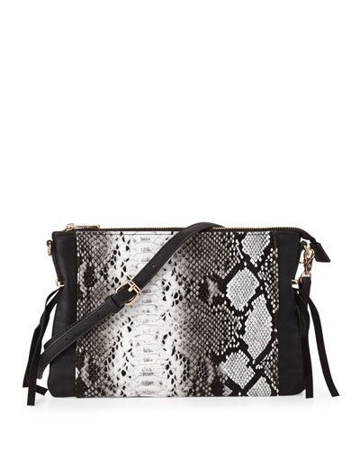 Infinity Faux-Leather Crossbody Bag, Black
