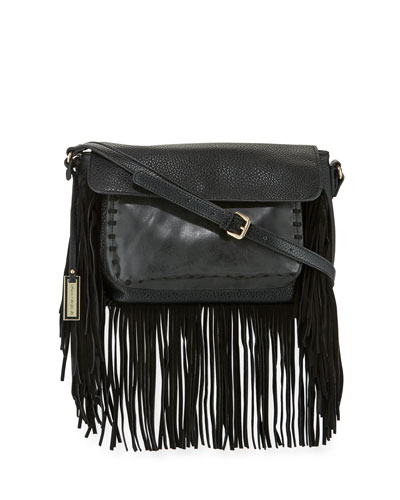 Mania Fringe Shoulder Bag, Black