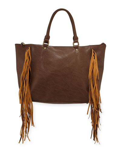 Oasis Fringed Tote Bag, Latte