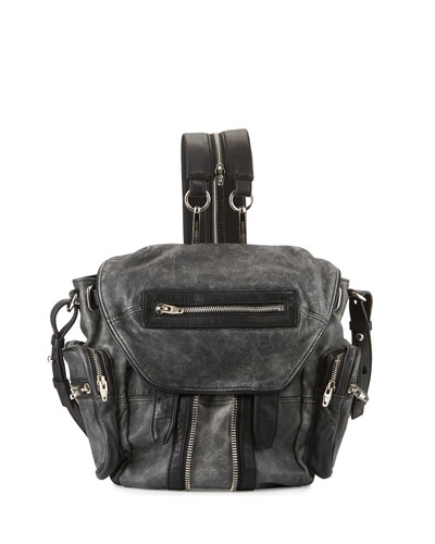 Mini Marti Crackled Lambskin Backpack, Black/White