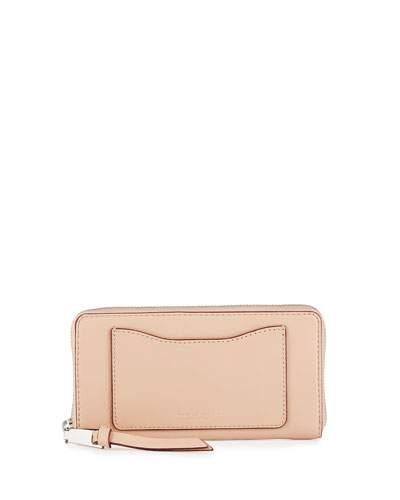 Recruit Leather Continental Zip Wallet, Nude