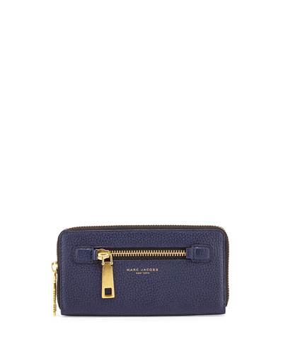Gotham Leather Continental Wallet, Midnight Blue