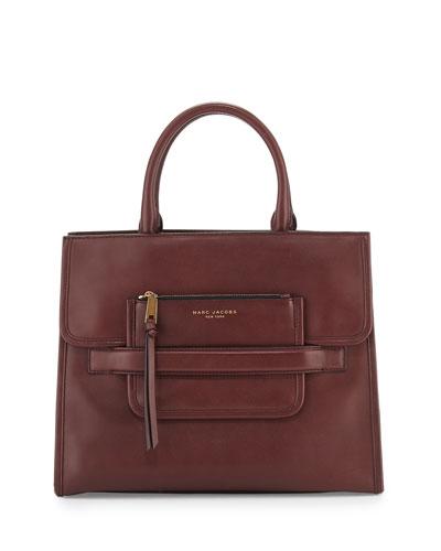 Madison North-South Leather Tote Bag, Rubino