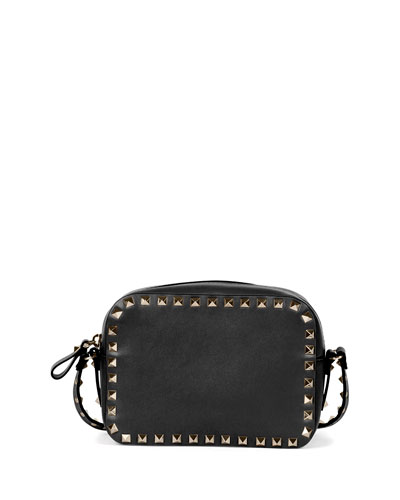 Rockstud Vitello Leather Camera Crossbody Bag, Black