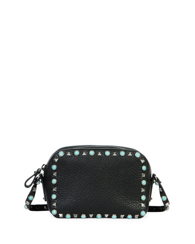 Rockstud Turquoise-Studded Camera Crossbody Bag, Black