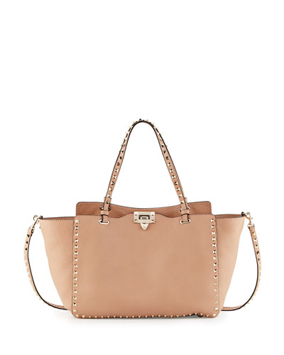 Rockstud Medium Vitello Tote Bag, Taupe