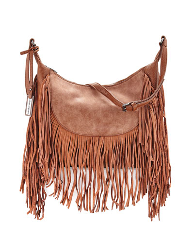 Fringed Goddess Hobo Bag, Tan
