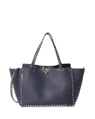 Rockstud Medium Vitello Tote Bag, Denim Blue