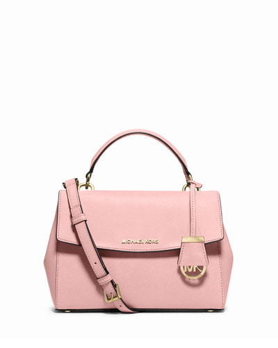 Ava Small Saffiano Leather Satchel Bag, Blossom
