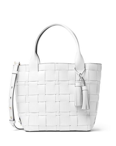 Vivian Medium Woven Tote Bag, Optic White