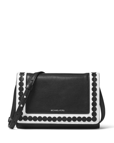 Analise Medium Leather Messenger Bag, Black/White