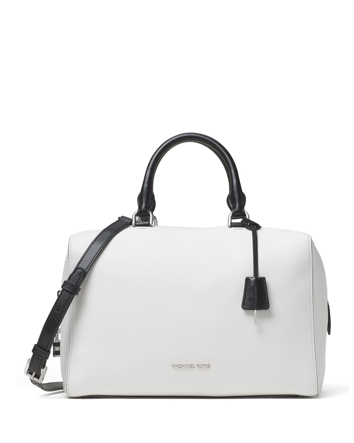 Kirby Large Leather Satchel Bag, White/Black
