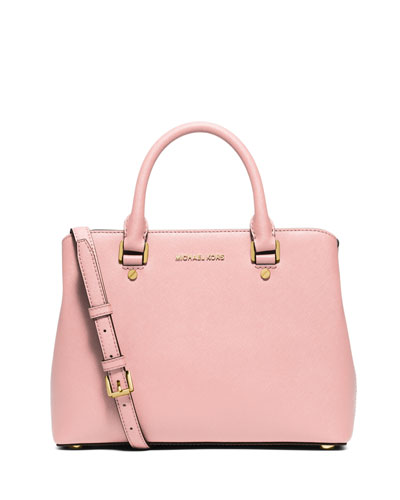 Savannah Medium Saffiano Satchel Bag, Blossom