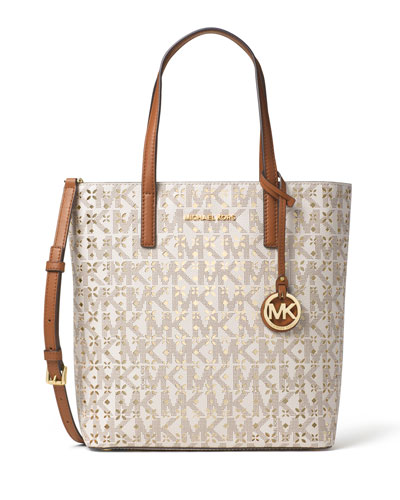 Hayley Medium Laser-Cut Logo Tote Bag, Vanilla