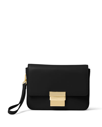 Madelyn Small Leather Clutch Bag, Black