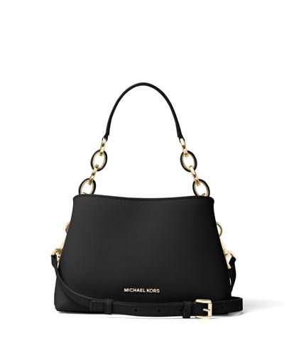 Portia Small Saffiano Shoulder Bag, Black