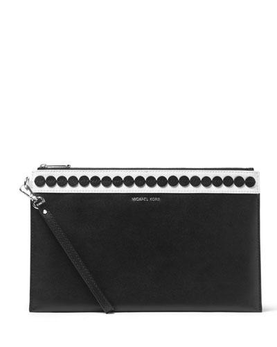 Analise XL Zip Clutch Bag, Black/White