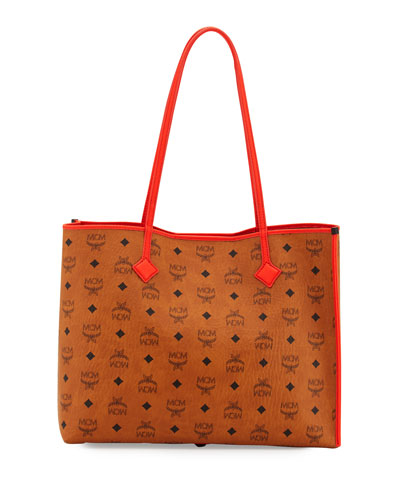 Kira Medium Visetos Shopper Shoulder Tote Bag, Cognac