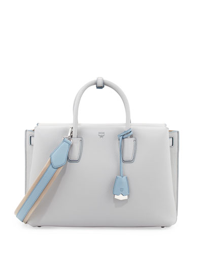 Milla Medium Leather Tote Bag, Whisper Gray