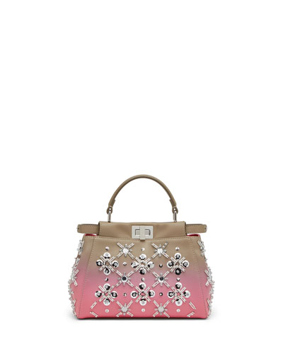 Peekaboo Mini Crystal Satchel Bag, Dove/Pink Ombre