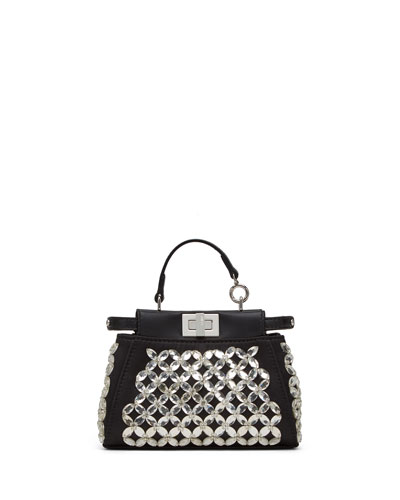 Peekaboo Micro Crystal Satchel Bag, Black