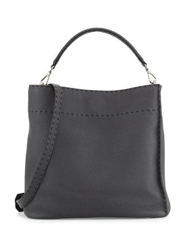 Large Bucket Hobo Bag, Dark Gray