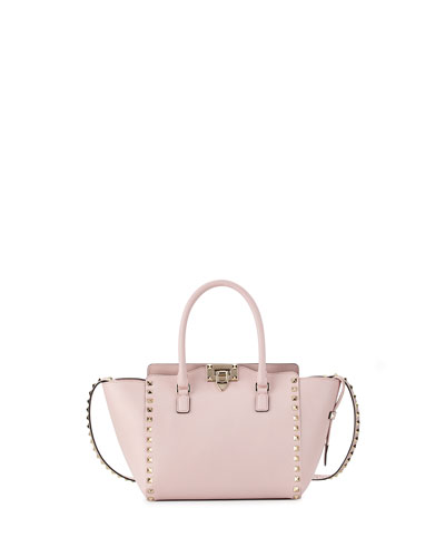 Rockstud Small  Double-Handle Shopper Tote Bag, Pale Pink
