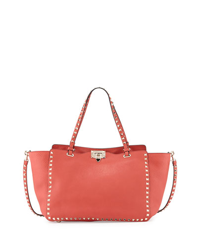 Rockstud Medium Grain Leather Tote Bag, Deep Coral