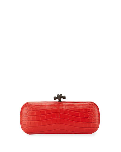 Crocodile Elongated Knot Clutch Bag