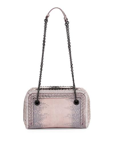 Snakeskin Small Zip-Around Crossbody Bag, Rose