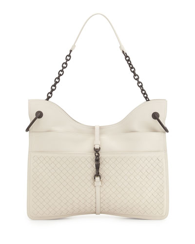 Beverly Medium Flat Hobo Bag, White