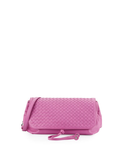 Intrecciato Medium Flap Crossbody Bag, Peony Pink