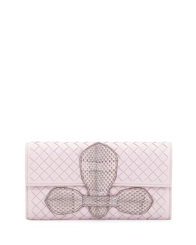 Snakeskin Continental Organizer Wallet, Rose