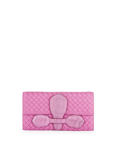 Snakeskin Continental Organizer Wallet, Peony Pink