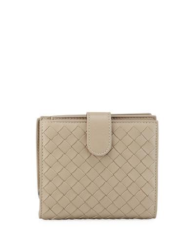 Small French Woven Bi-Fold Wallet, Gray
