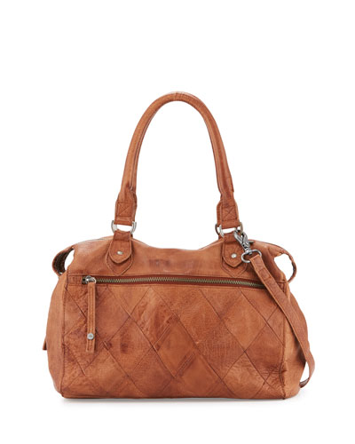 Norman Leather Satchel Bag, Brown